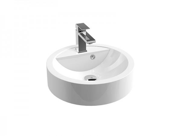 Mineralguss Aufsatz Waschbecken mit Hahnloch Größe ø 430 mm