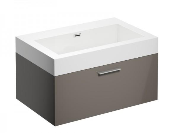 Badmöbel ohne Hahnloch Cappuccino Braun Hochglanz 725 x 475 x 400 mm