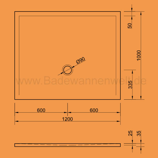 bodengleiche dusche flat 120 x 100 cm. Black Bedroom Furniture Sets. Home Design Ideas