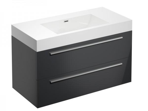 Badmöbel ohne Hahnloch Graphit Grau Hochglanz 995 x 475 x 600 mm