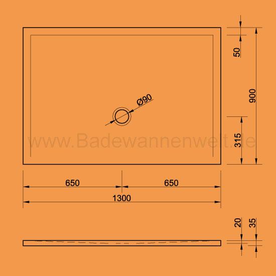 bodengleiche dusche flat 130 x 90 cm. Black Bedroom Furniture Sets. Home Design Ideas