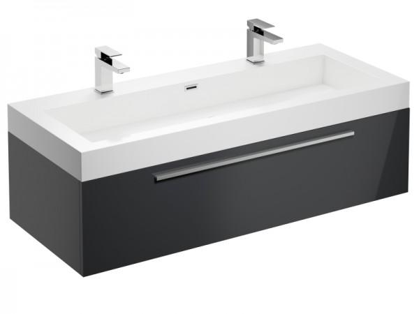 Badmöbel Doppelwaschbecken Graphit Grau Hochglanz 1245 x 515 x 400 mm