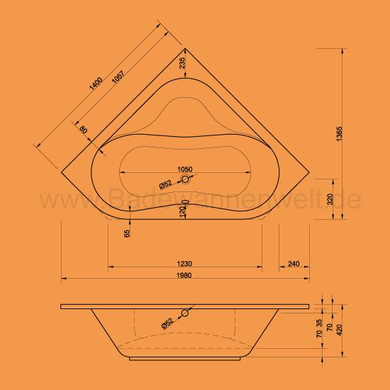 eckbadewanne 140 x 140 euroline sch rze. Black Bedroom Furniture Sets. Home Design Ideas
