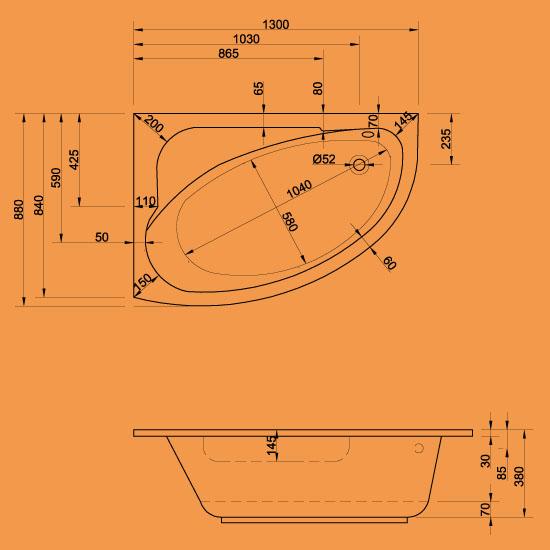 raumspar badewannen 130 x 88 basel links. Black Bedroom Furniture Sets. Home Design Ideas