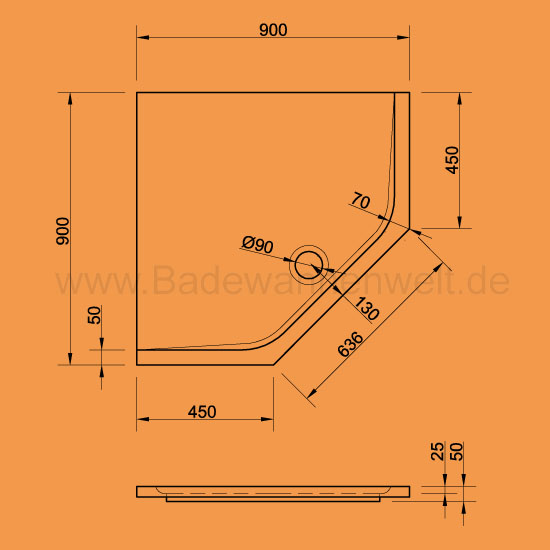 f nfeck duschwanne adria 90 x 90 cm. Black Bedroom Furniture Sets. Home Design Ideas