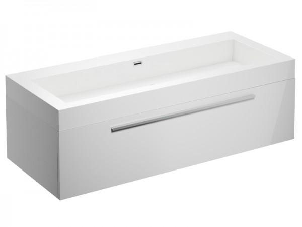 Badmöbel ohne Hahnloch Weiss Hochglanz 1245 x 515 x 400 mm