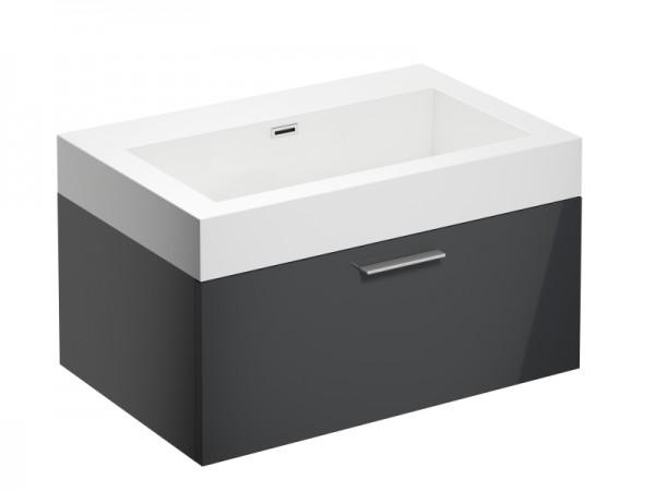 Badmöbel ohne Hahnloch Graphit Grau Hochglanz 725 x 475 x 400 mm