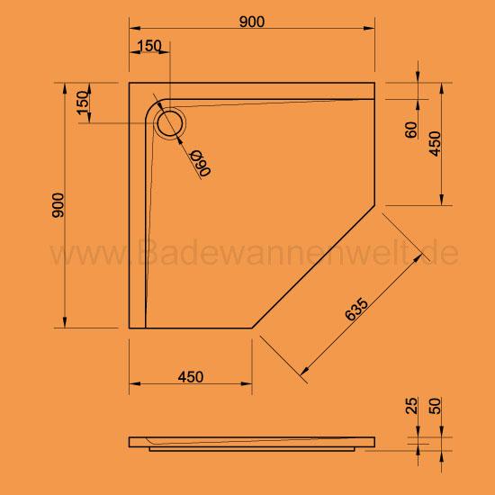 f nfeck duschwanne arenal 90 x 90 cm. Black Bedroom Furniture Sets. Home Design Ideas