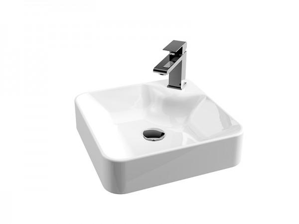 Mineralguss Aufsatz Waschbecken mit Hahnloch 400 x 400 mm