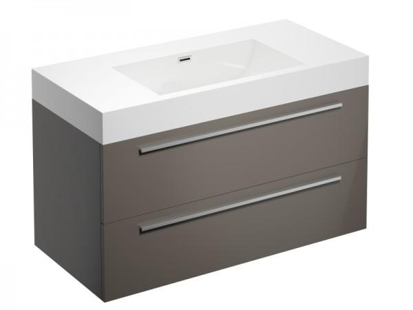 Badmöbel ohne Hahnloch Cappuccino Braun Hochglanz 995 x 475 x 600 mm