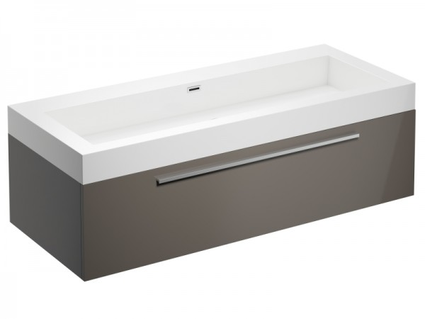 Badmöbel ohne Hahnloch Cappuccino Braun Hochglanz 1245 x 515 x 400 mm