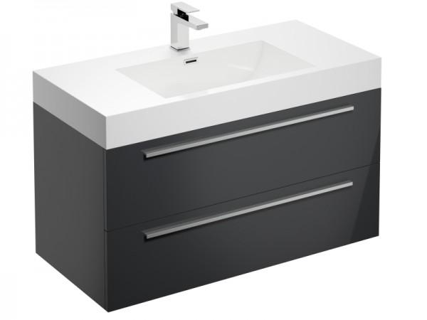 Badmöbel mit Hahnloch Graphit Grau Hochglanz 995 x 475 x 600 mm