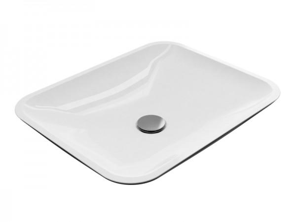Mineralguss Aufsatz Waschbecken Größe 499 x 399 mm schwarz/weiß