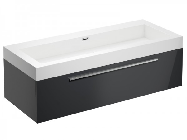 Badmöbel ohne Schwarz Graphit Grau Hochglanz 1245 x 515 x 400 mm