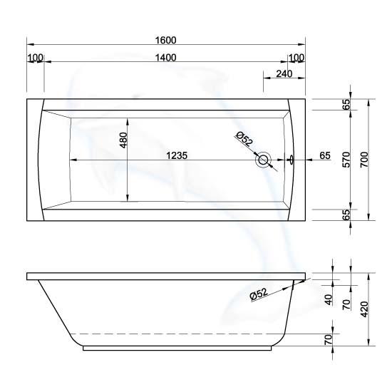 Rechteck Badewanne Aquaria 160 X 70 Cm Badewannen De