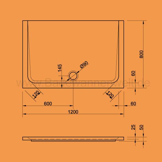 rechteck duschwannen arenal 120 x 80 cm. Black Bedroom Furniture Sets. Home Design Ideas