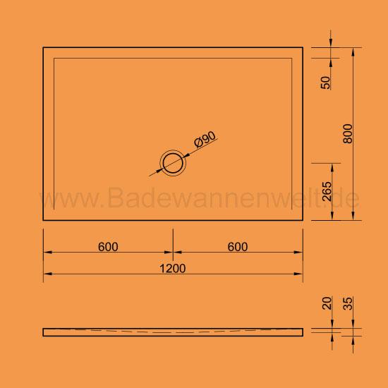 Begehbare Dusche Gr??e : Bodengleiche Dusche Flat 120 x 80 cm – Badewannenwelt.de